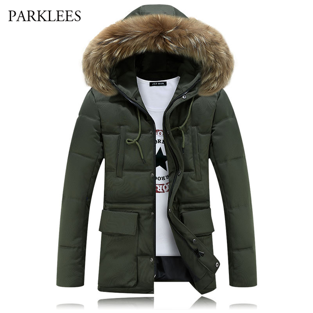 3285c25aaa3b Long Hoooded Parka Men 2017 Warm Winter Jacket Men Fashion Brand Design  Solid Manteau Homme Hiver Big Fur Outwear Army Green 4XL