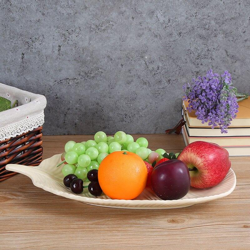 Творческий Простой лоток для хранения Керамика бежевый фрукты Nordic листьев лоток для хранения ювелирных изделий украшения ремесло украшени...