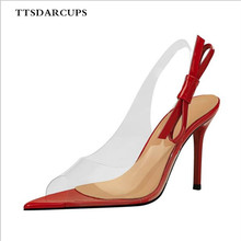 TTSDARCUPS Euro-American style transparent bare feet sexy thin pointed fish mouth hollow back strap bow sandals shose women 40