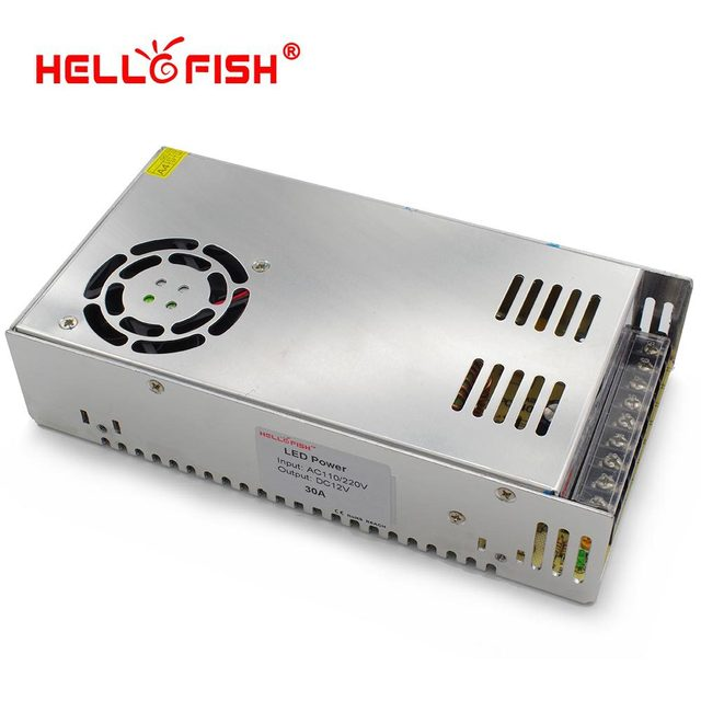 Hello Fish 12V 30A 360W switching power supply, 12V 30A power adapter, 12V Led strip transformer, Free Shipping