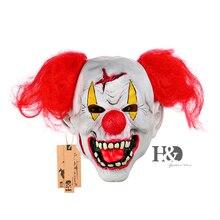 Scary Máscara de Payaso Nariz Roja con Rojo HairFull Frente al Horror Ghost Máscara Del Partido de Halloween Props Mascarada Adultos de Disfraces