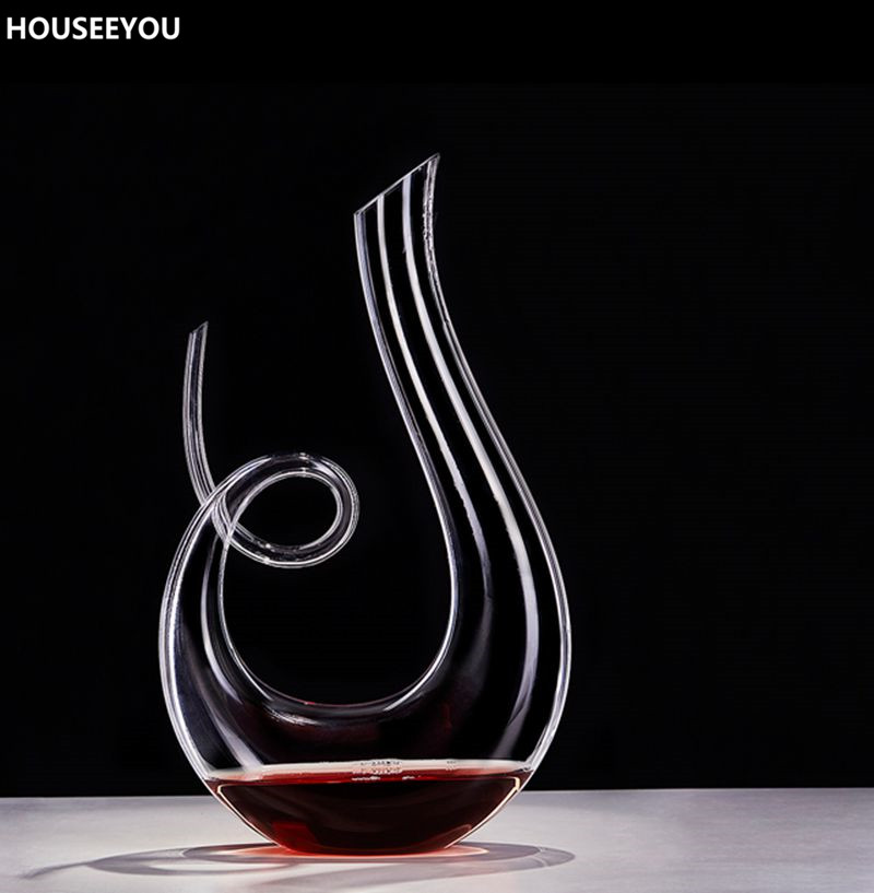 1500ml Lead free Crystal Glass Decanter Handmade Healthy Wine Bottle Transparent Kitchen Bar Sets Mouth Blown Barware Supplies-in Decanters from Home & Garden    1