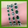 Reginababy Charismatic Green created Emerald Women Silver color Bracelet Attractive Crystal wedding Jewelry