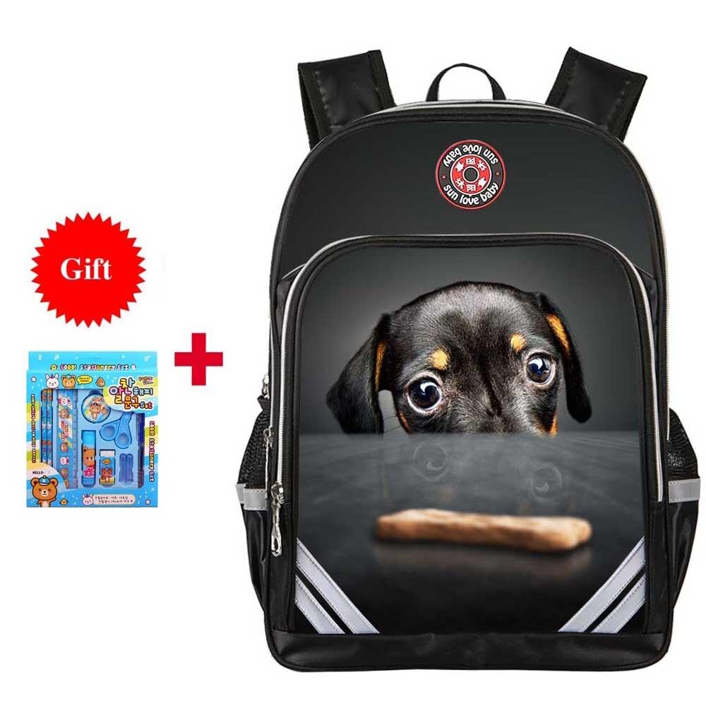 Милая собачка кошка печать рюкзак Обувь для мальчиков школьные сумки для девочек детская ортопедическая качество рюкзак Mochila Infantil Bolsas осно...