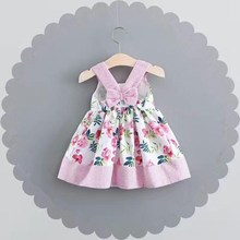 Summer Baby Kids Sleeveless Floral Print Cotton Cute Girls Dress Infant Beach Spaghatti Strap Dresses Vestidos roupas de bebe
