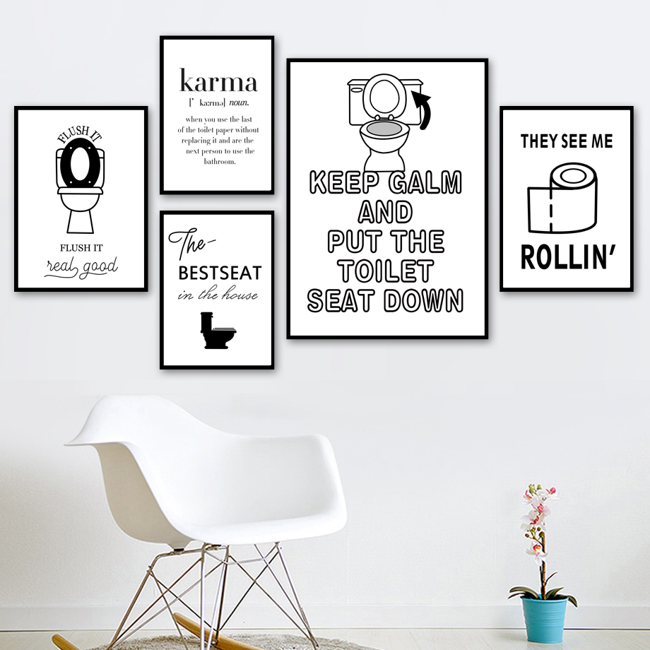 Bathroom Quotes Wall Art Canvas Painting Washroom Nordic Poster Toilet Wall Pictures For Living Room WC Home Decor Unframed in Painting Calligraphy from Home Garden