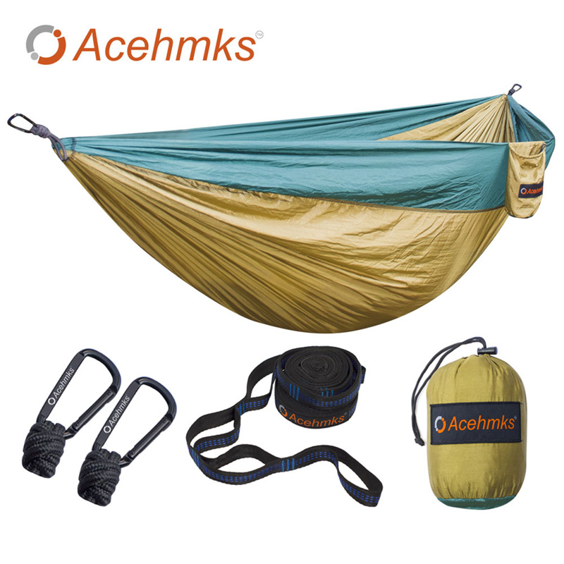 Acehmks Hammock Double Portable Folding Ultralight Parachute Nylon Camping Hammocks Garden Swing With 2pcs Strong Tree Straps thicken canvas single camping hammock outdoors durable breathable 280x80cm hammocks like parachute for traveling bushwalking