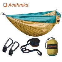Acehmks Hammock Double Portable Folding Ultralight Parachute Nylon Camping Hammocks Garden Swing With 2pcs Strong Tree