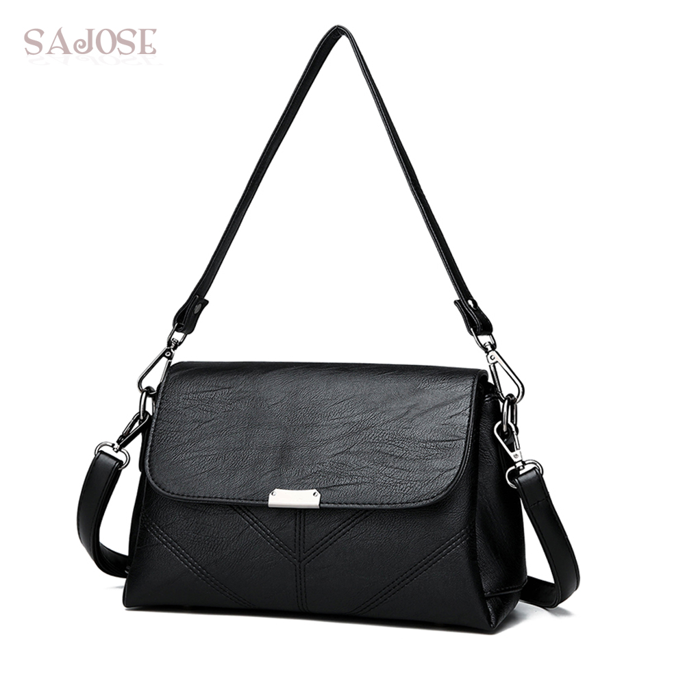 Woman Leather Handbag Crossbody Bags Female Brand Messenger Bags Lady Fashion Simple Small Black Shoulder Bag Girl Drop Shipping 2017 hot fashion women bags 3d diamond shape shoulder chain lady girl messenger small crossbody satchel evening zipper hangbags