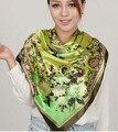 90*90cm Women's Flower print large silk scarf lady's satin scarf cape pashimina shawl