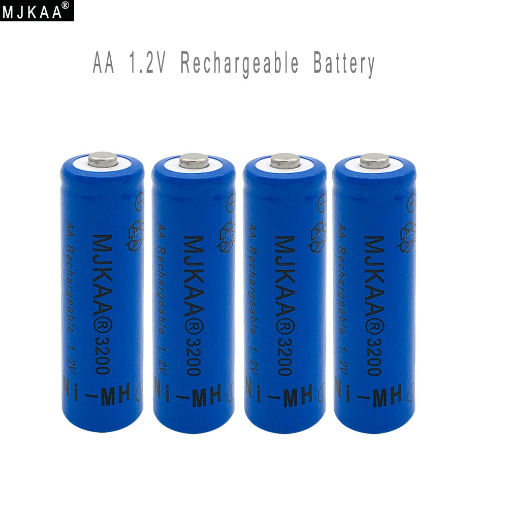 4pcs AA Ni-MH 3200mAh Battery 2A Batteries 1.2V AA Rechargeable Battery NI-MH battery for Remote control Toys LED lights