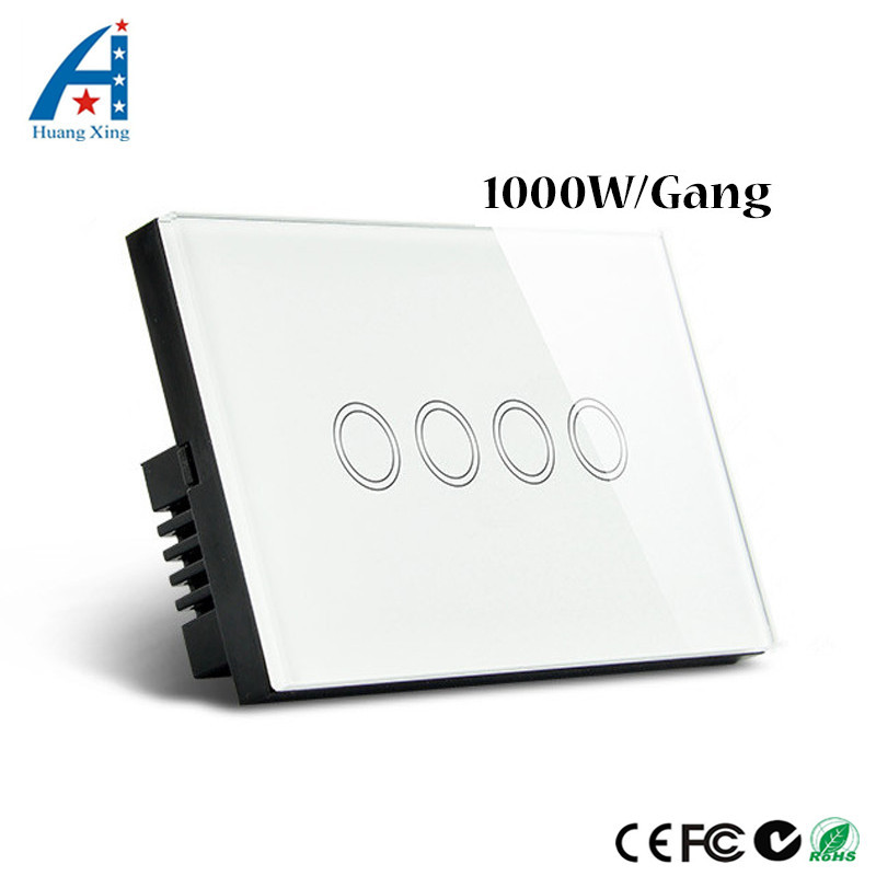 HUANGXING, US/AU Standard 1000W Touch Switch 4Gang1Way, Crystal Glass Panel Wall Switch 110-240V Light Switch+With LED Indicator smart home touch switch crystal glass panel wall switch 1 gang 2 way led indicator us au light touch screen touch switch