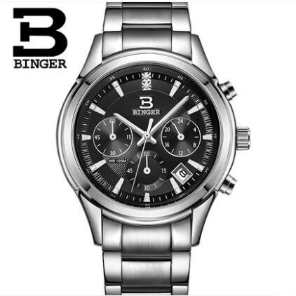 New Switzerland Binger Men Dual Time Zone Sport Watch Mens Quartz Wristwatch Stainless Steel Waterproof Dive Sports Watches weide new men quartz casual watch army military sports watch waterproof back light men watches alarm clock multiple time zone
