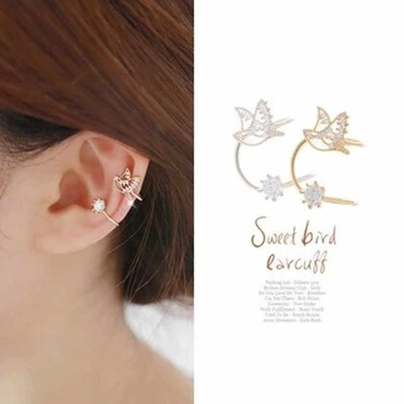 Bijoux Korean One Piece Bird Cheap Gold Color Ear Cuff Luxuvy Women Crystal Rhinestone 2018 Clip Earrings Women Brincos