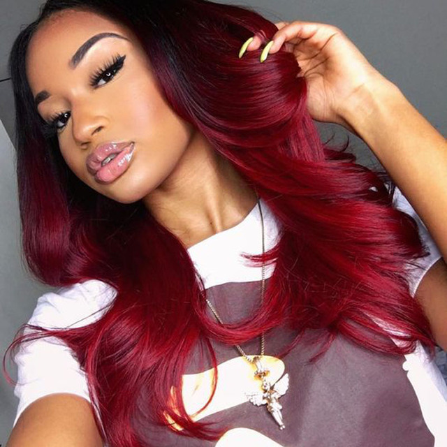 Ombre Brazilian Hair Bundles 1b Red Ombre Human Hair