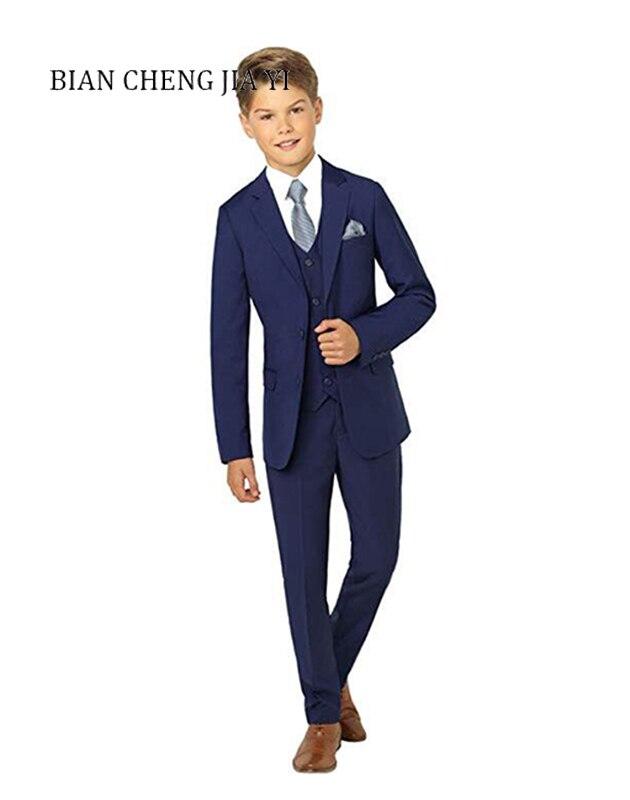 4 pièces bleu garçon costumes de haute qualité Cool mariage enfants costumes smoking robe fête anneau porteur formelle occasions beau
