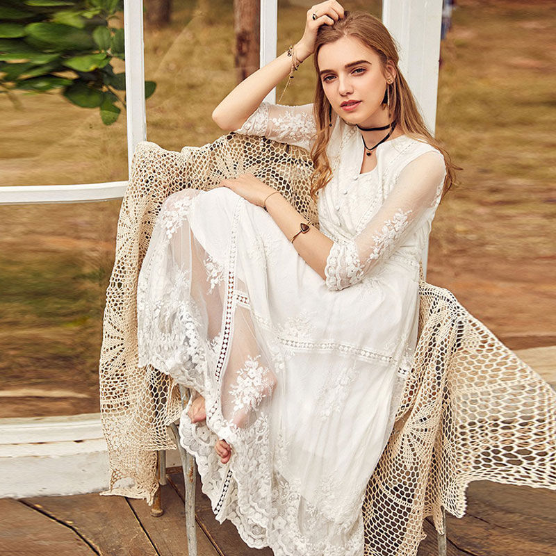 ARTKA Spring New Women Vintage Lace Dress Embroidered Floral High Waist V neck Lady White Princess