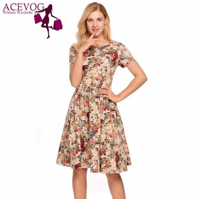 ACEVOG Vintage Dress For Women Floral Print O-Neck Short Sleeve Back  Lace-up A-Line Pleated A-Line Dresses Feminino Vestidos ba9d04ae73ca