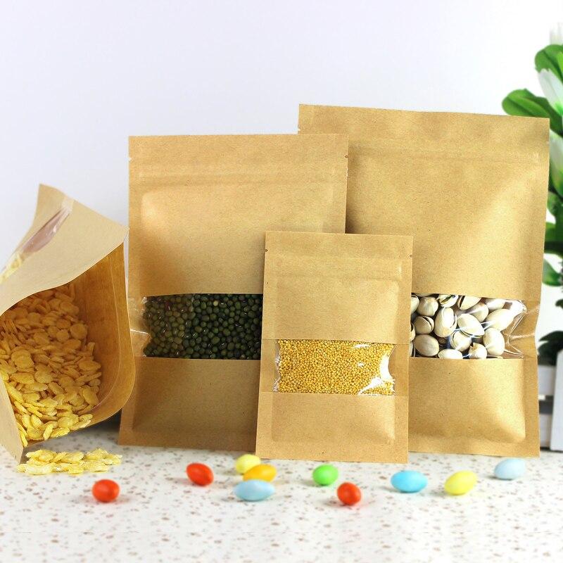 100pcs/lot 9sizes Kraft Paper Packaging bag Transparant windows Flat Bottom Zipper Packing Bags Zip Lock Retailer Package