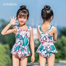 AONIHUA Sweet Girl Swim wear Flower decorate Waterproof One-piece swimsuit Outdoor Sport Bodysuit Beach Bathing Suit Wear