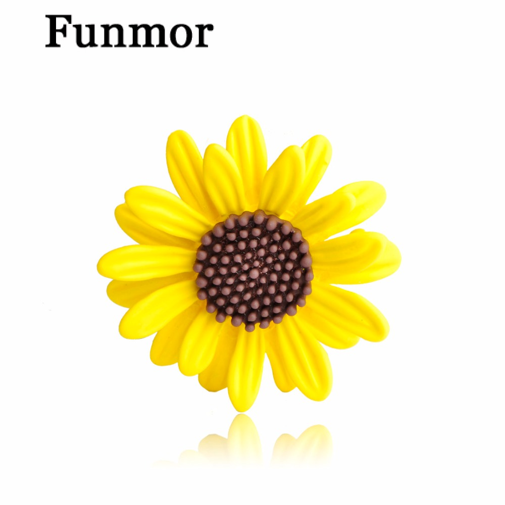 Wholesale 3pcs Yellow Sunflower Brooches Pin For Women Warm Icon