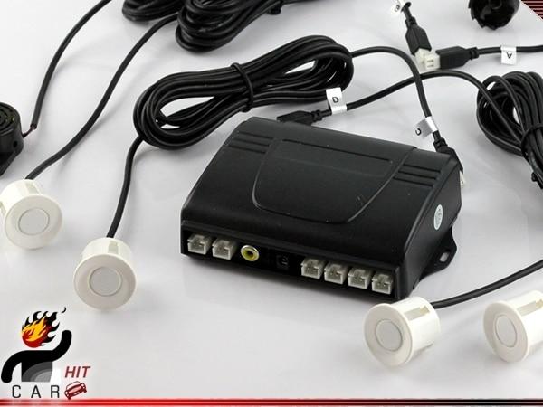 White Car Parking Radar Sensor System for Car Monitor Dash DVD - Voice Warning