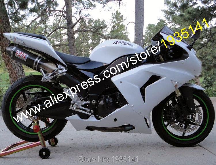 Hot Sales,Body For Kawasaki NINJA ZX10R 06 07 Parts ZX-10R 2006 2007 ZX 10R Full White Motorbike Fairing Kit (Injection molding)
