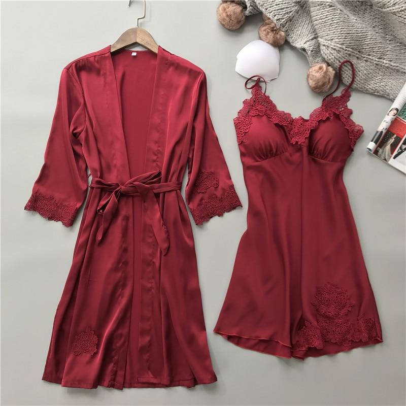 Image 2 - Silk Robe Femme with Chest Pads Sexy Lace Sleepwear Night Dress Robes Women Nightwear Robe Set Nighty Home Dress Sleeping Dress-in Robe & Gown Sets from Underwear & Sleepwears