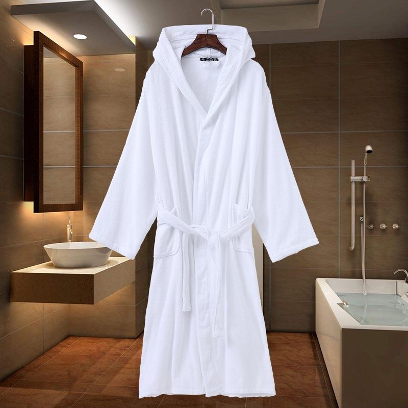 Bath Robe Hooded Women men dressing Gown Warm winter long towel Fleece Ladies Robes Female Pajamas