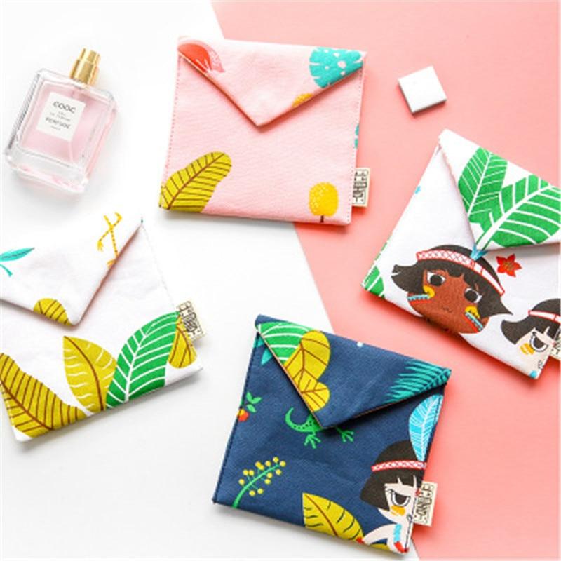 NIBESSER Women Cute Sanitary Pad Organizer Kawaii Bag Cute Cartoon Print Lady Wallet Purse Napkin Towel Convenience Bags Girls girls print purse
