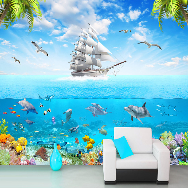 Custom Photo Wallpaper Sailing Dolphin 3D Underwater World Cartoon Picture Living Room Children Bedroom Decoration Wall Mural free shipping cartoon fun mural hotel park tv sofa living room bedroom children s room decoration animal world wallpaper mural