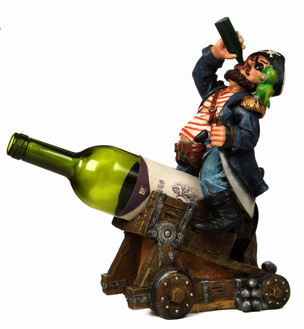 Ornamental bottles - Caribbean Pirate On Cannon Polyresin Sculpture Red Wine And Champagne Bottle Rack Ornamental Novelty Barware Decoration