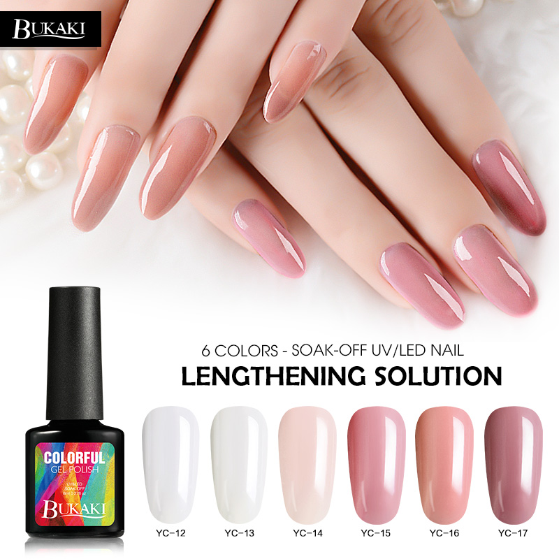BUKAKI 6 Colors Poly Gel Nail Extension Polish Art UV Paint Builder Hard French Manicure Jelly False Glue In From Beauty Health