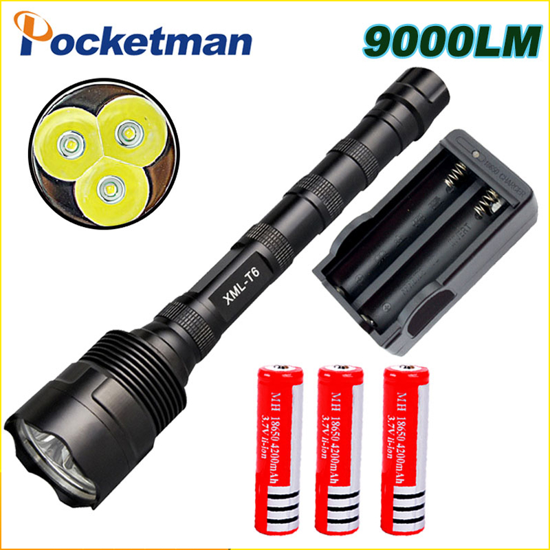 9000Lumen LED Flashlight CREE 3 T6 Power 5 Modes Torch Lamp Led Light For Camping Hunting Fishing Waterproof Tactical Torche ruzk40 led flashlight v5 cree xm l t6 5000lumens 5 modes zoomable torch tactical flashlight waterproof camping hunting lamp