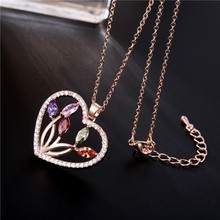 FYM Fashion High Quality Rose Gold Color Heart Shape Cubic Zirconia Wedding Necklaces Crystal Jewelry Statement For Party fym high quality fashion high heels shape crystal cubic zirconia necklace