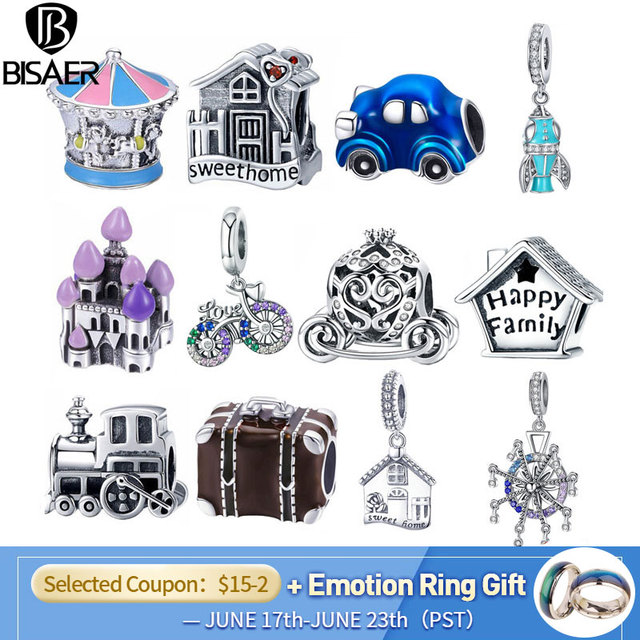 BISAER 925 Sterling Silver Princess Cattle Pumpkin Car Baby Carriage Family House Home Beads Fit Charm  Bracelet DIY Jewelry