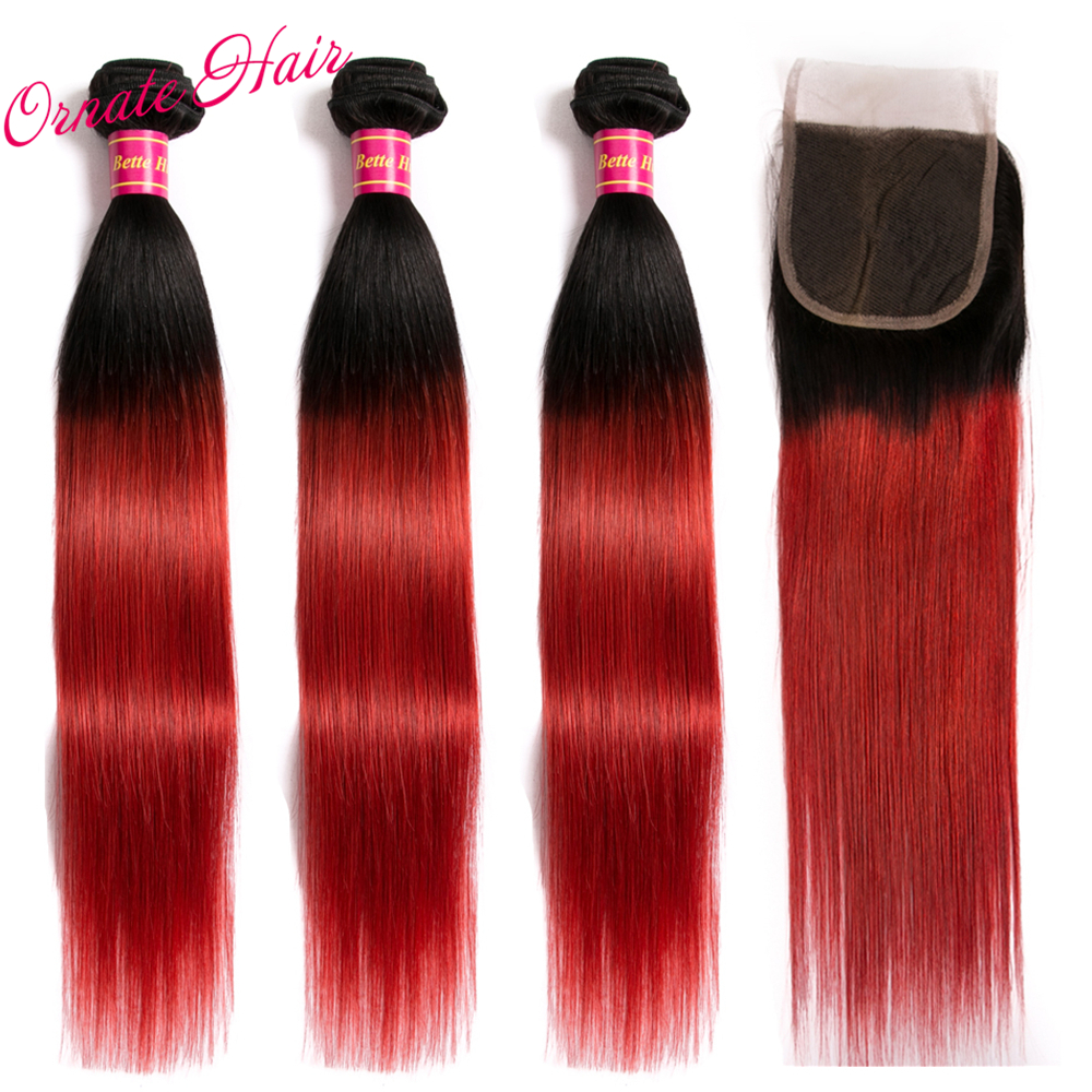 3 Bundles With Closure T1BRed Ombre Straight Hair Bundles With Closure Brazilian Hair Weave Bundles Human Hair Non Remy