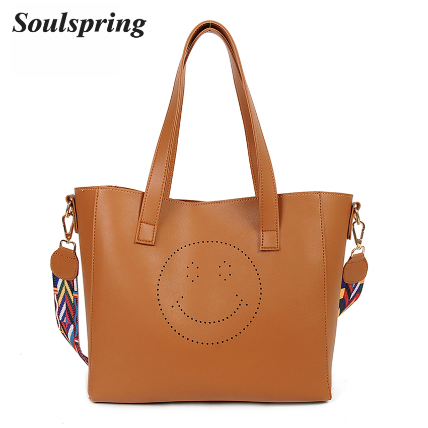 Luxury Handbags Women Bags Designer Pu Leather Bag Smile Casual Tote Bag Set Famous Brand Women Shoulder Bags Sac a main Retro 2017 vintage oil wax leather women shoulder bags famous brand luxury handbags women bags designer pu leather tote bag sac a main