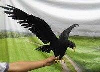 Большой Летающий моделирование черная птица реалистичные крылья ворона модель подарок около 90 х 45 см