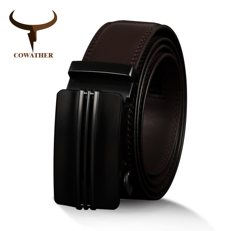 COWATHER Cow Genuine Leather Vintage Belts For Men Cowhide Male Belt High Quality Automatic Metal Buckle Men Strap 110-130cm