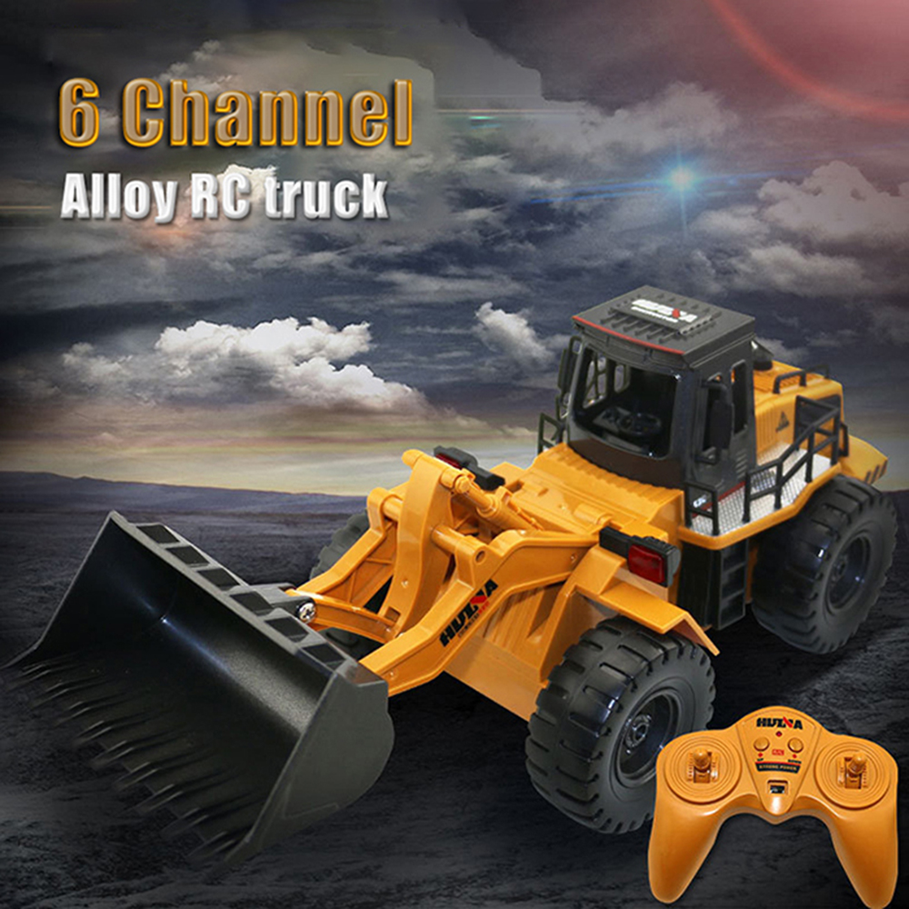 HUINA 1520 1:18 2.4GHz 6CH RC Alloy Truck Construction Vehicle RC Bulldozer RC Excavator Large Capacity Loading Anti-Slip Tire