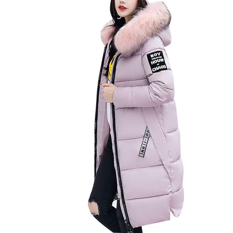 Winter Woman Coats Cotton Parkas Female Large Fur Parka Hooded Slim Padded Thicken Warm Winter Coat Women Jacket Plus Size 3xl new winter jacket coats 2017 women parkas long slim thicken warm jackets female large fur collar hooded cotton parkas cm1350