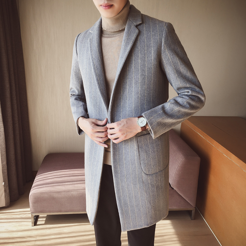 2019 European American Fashion Men's Long   Trench   Coat,Woolen Coat Male ,High Quality Aristocratic Striped Solid Color Jacket men