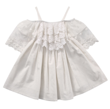 2017 Summer Kids Girls Dress Off-shoulder Ruffles Lace Dresses Solid White Baby Girl Clothes Princess Costume