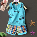 Kids Clothes Set 2016 Fashion Summer Baby Boys Girls Clothing Sets 0-24M Children Letter Sleeveless Shirt+Top Shorts Suit 2pcs
