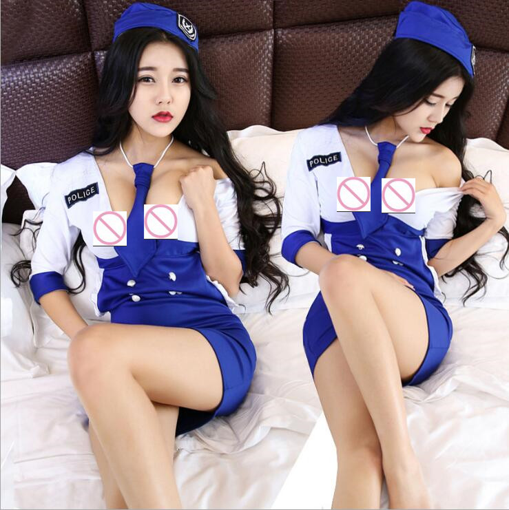 School Girl Sexy Costume Role-playing Games Student Suit Policewoman Sexy School Uniform Leaking Chest Loose Waist Dress AA01