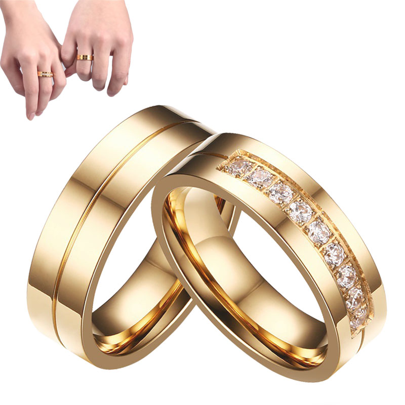 Hot 1Pc Charming Delicate Titanium Steel Crystal Golden MenWomen