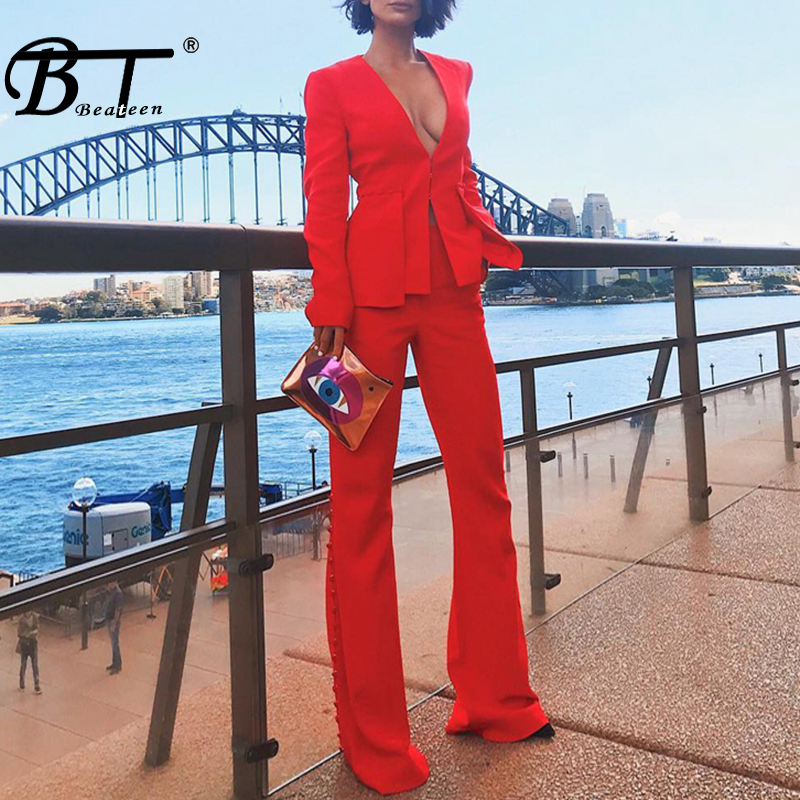 Beateen 2018 V Neck Red Blazer Long Sleeve Flare Wide Leg Pant OL Formal Lady Pant Suits 2 Picec Sets-in Women's Sets from Women's Clothing    1