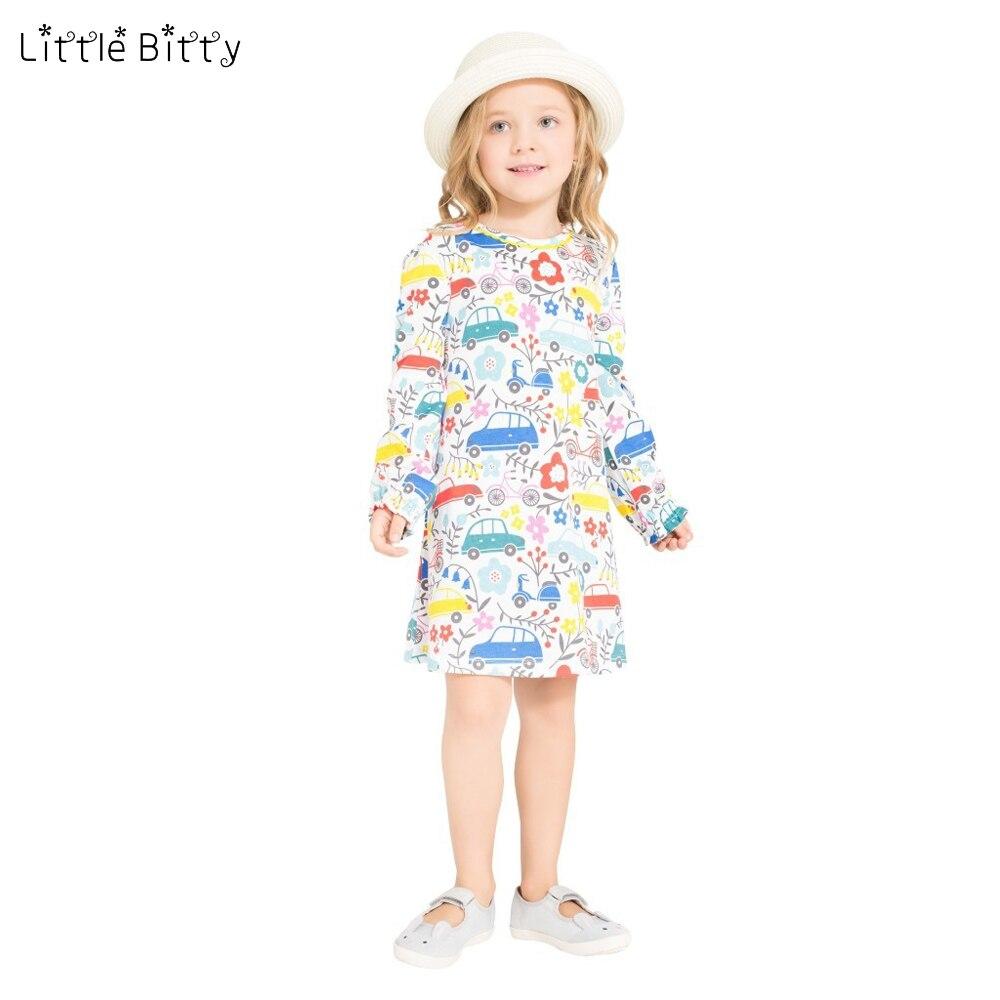 los angeles f1e44 a9ec8 US $8.29 47% OFF|Wenig Bitty Fashion bunte mädchen kleid Kleinkind Kind  Mädchen Langarm auto Kleid Casual Baumwollkleid Winter herbst Kleidung-in  ...