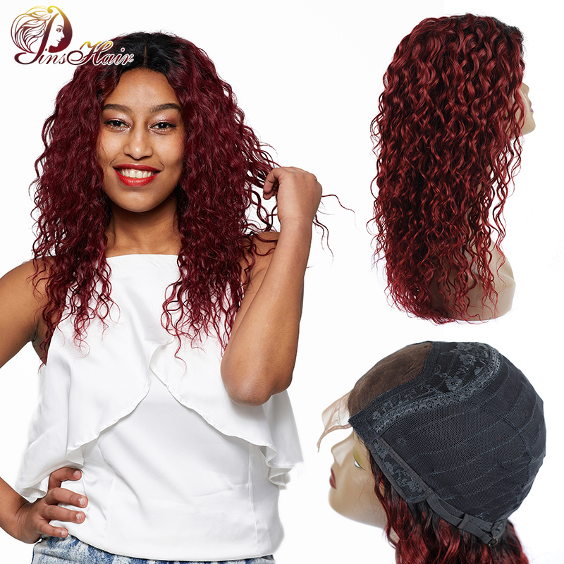 Pinshair T1B/99J Water Wave Lace Front Human Hair Wigs For Black Women Ombre Burgundy Preuvian Lace Front Wig Nonremy Preplucked
